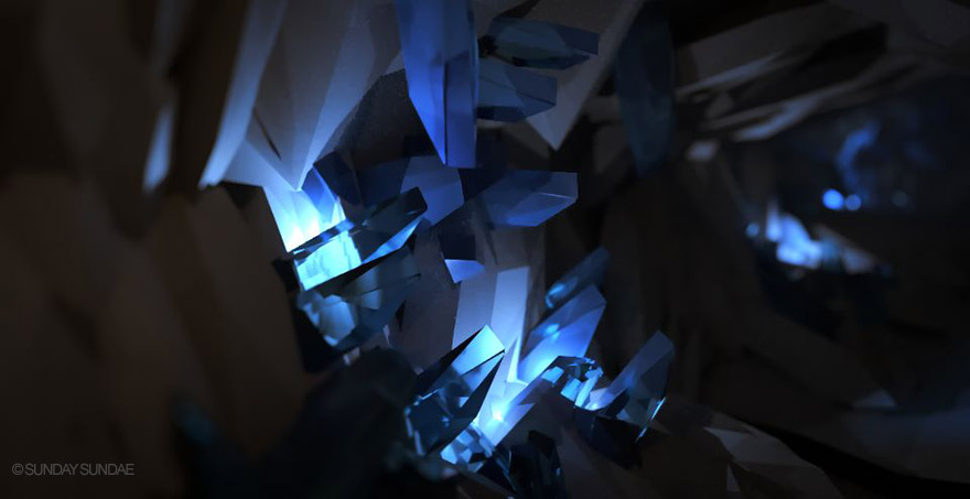 Dark cave with illuminated crystals