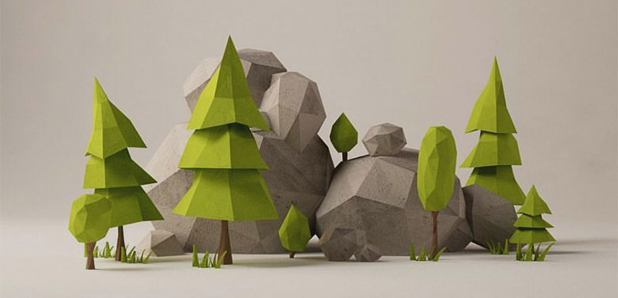 Nice clean image of trees and rocks