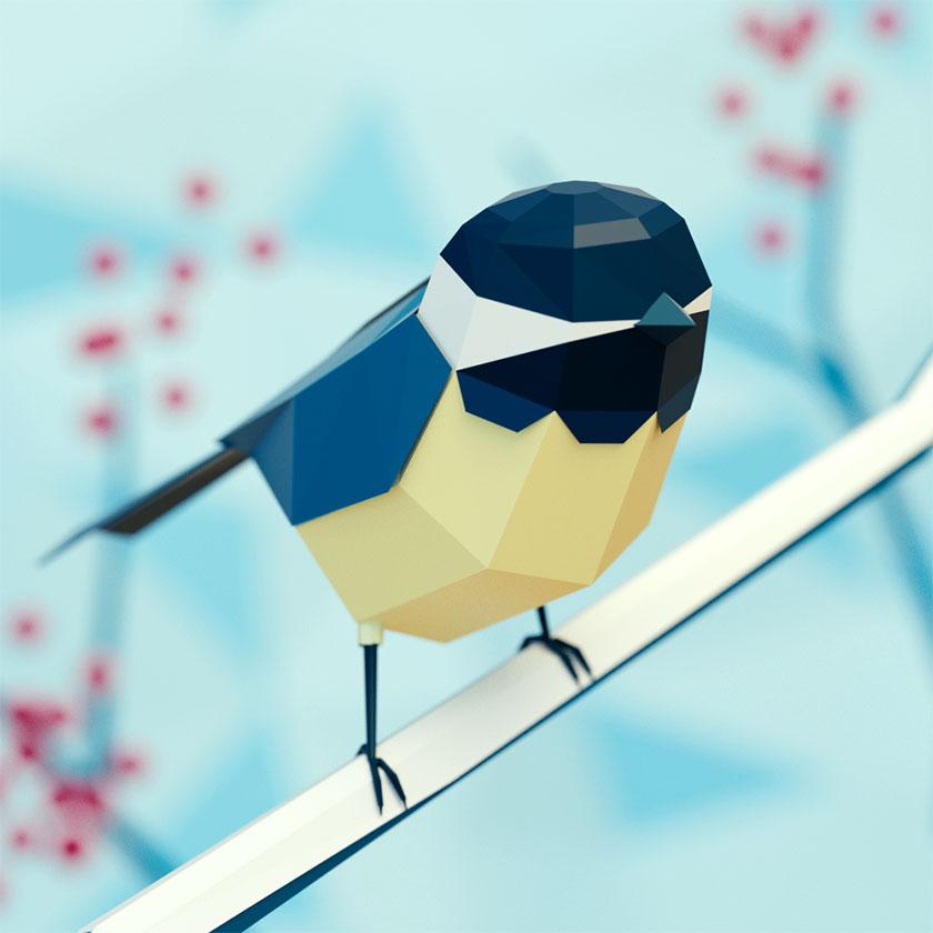 Low Poly art bird