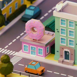Low Poly art donut