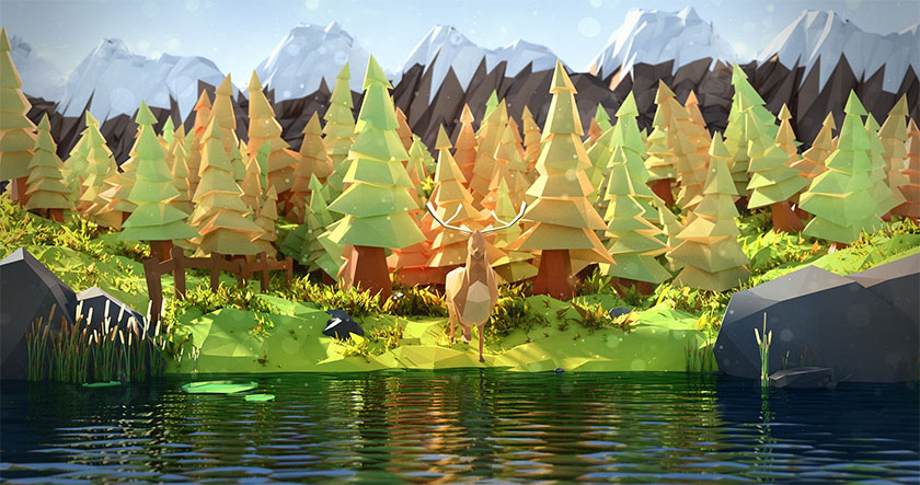 Low Poly art woodland