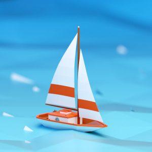 Low Poly art sail boat