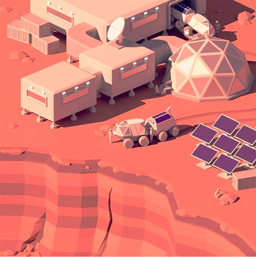 Low Poly Mars Base