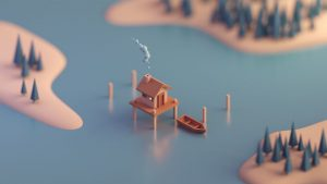 Low Poly art boat house