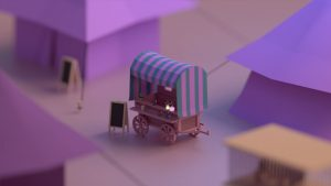Low Poly art caravan