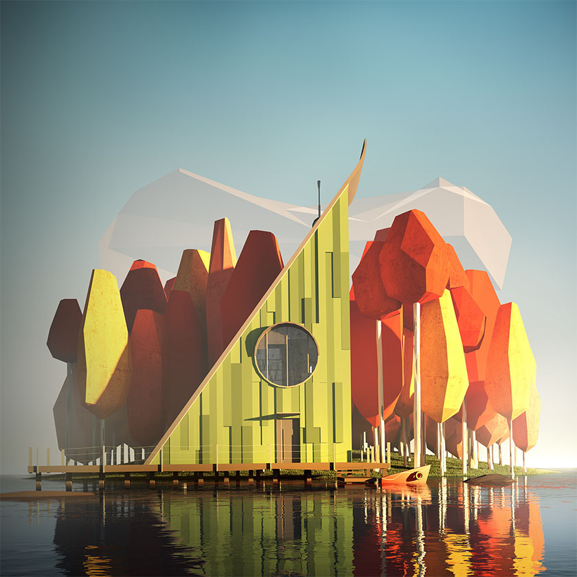 Low Poly art architecture