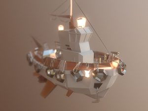 Low Poly art boat traces of light