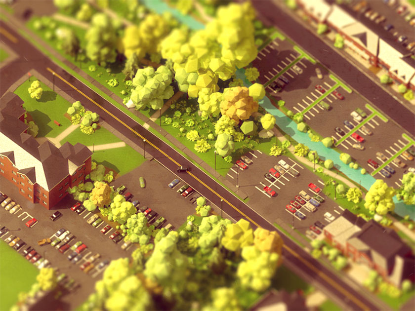 Low Poly art town