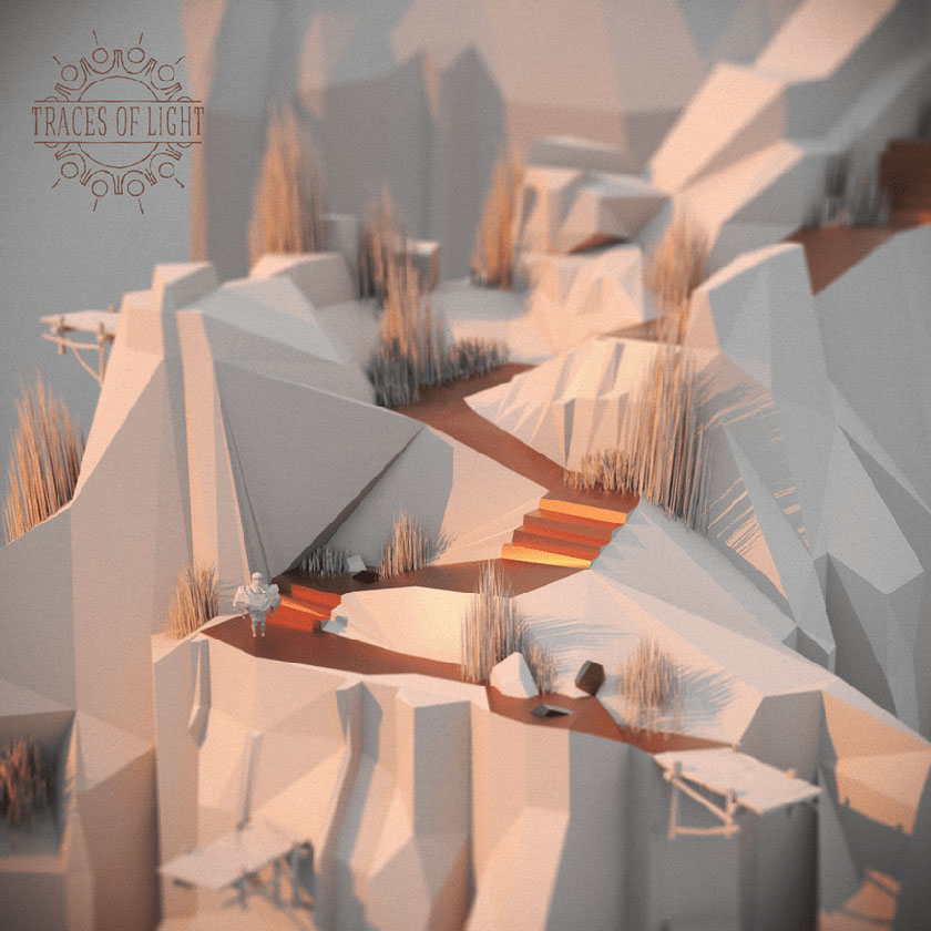 Low Poly art traces of light