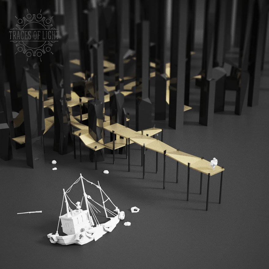 Low Poly art wood traces of light