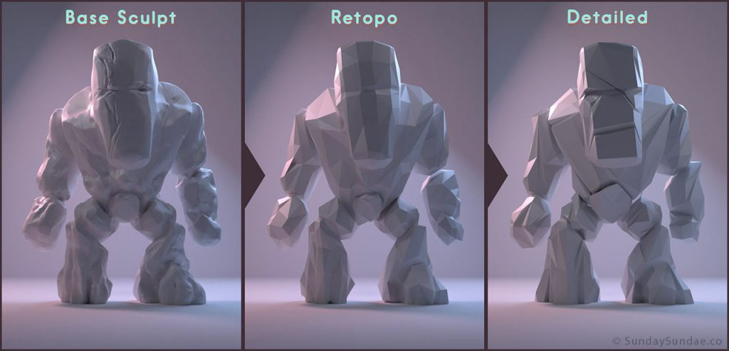 Low Poly Rock Monster Process