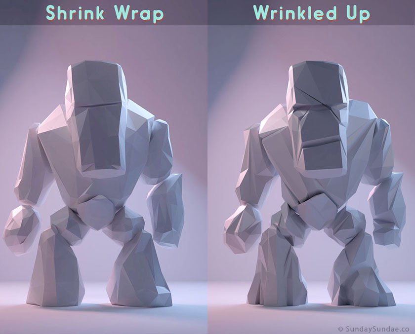 Low Poly Rock Monster Shrink Wrap