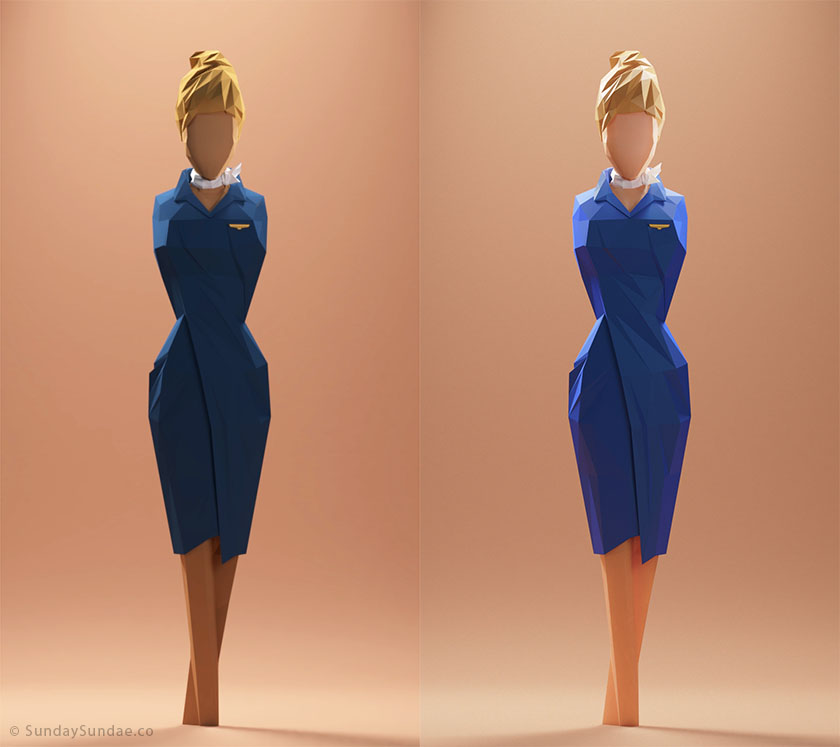 Low Poly Woman Diffuse