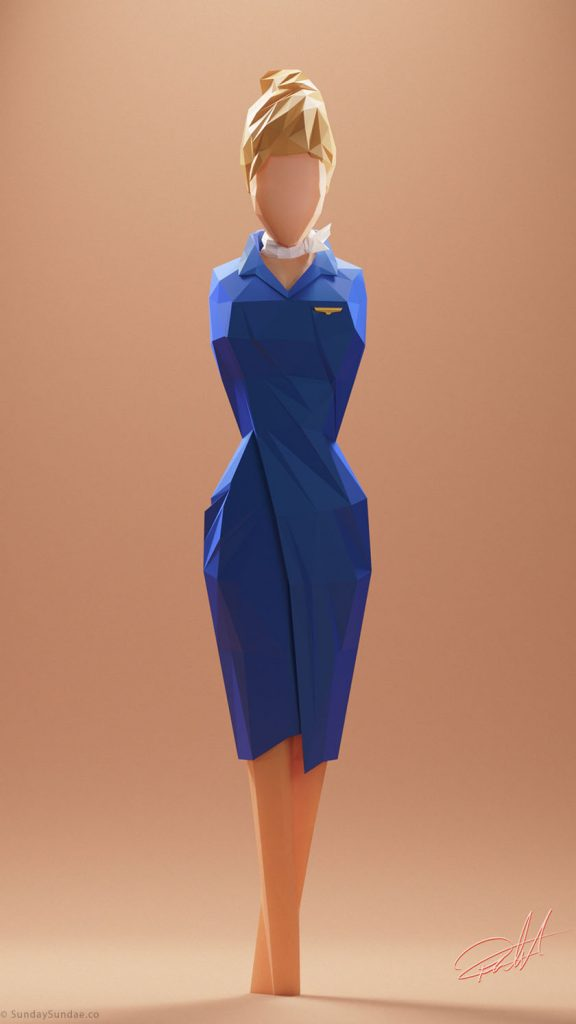Low Poly Woman Flight Attendant
