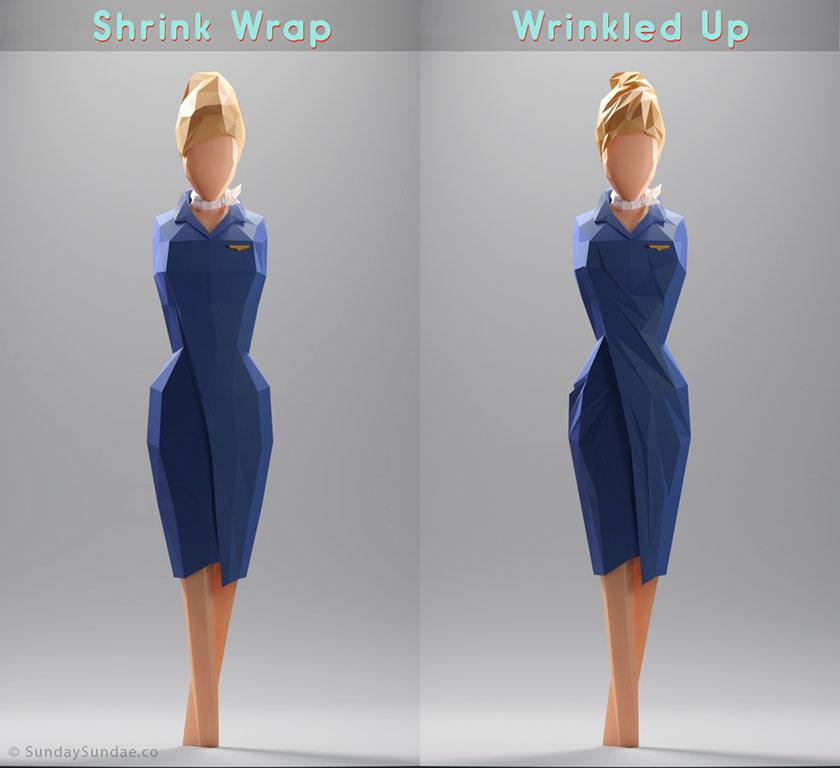 Low Poly Woman Shrink Wrap